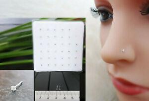 925 Silber Klein Mini Zirkonia Nasenpiercing Nasenstecker Stecker Piercing Stein