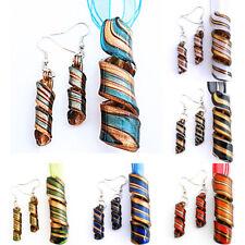 Gold Foiled Twist Lampwork Glass Bead Pendant Earrings Ribbon Necklace Cord Set
