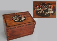 Exceptional 19thC Antique Gold Silver MOP Boule Inlaid Mahogany Desk Letter Box