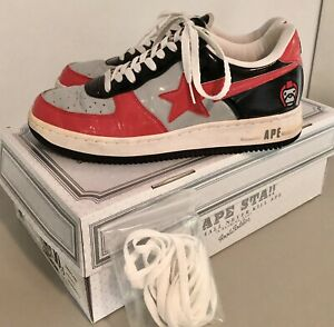 Vintage Bape Sta 2006 FS-001 Red Gray 10.5 WITH BOX & LACES Authentic