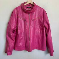 Liberty Collection Pink Moto Faux Leather Jacket Zip Pocket Zip Lined Size 3X
