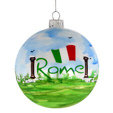 Rome Christmas Ornament Italy Ornament Coliseum 4 Inch Hand Painted Glass Ball