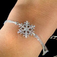 w Swarovski Crystal Christmas Snowflake Snow Flake Holiday Winter Chain Bracelet