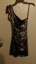 Womens City Triangles Brown Sequin Short Dress Size 7 Worn Once