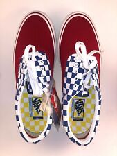 Vans Era Pro Red Blue yellow Checkerboard  Skate Shoes Men's Size 10 M ULTRACUSH