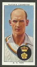 PLAYER'S 1938 CRICKETERS G.H. Pope Card No 21 of 50 CRICKET CIGARETTE CARDS