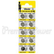 10 x Vinnic L1154F LR44 batteries Alkaline 1.5V AG13 G13 FREE Shipping