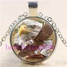 eagles fly freely Photo Cabochon Glass Tibet Silver Chain Pendant Necklace