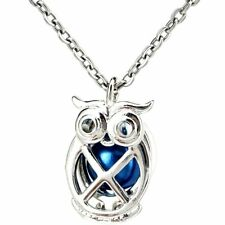 K1125 Silver Copper Owl Animal Pearl Beads Cage Locket Pendant Necklace