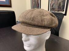 """Early 20th century Civilian Re-enacting Brown Tweed wool """"Newsboy Cap"""" Sz 7 1/4"""