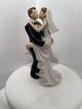 Kissing Couple Groom Holding Bride Porcelain Funny Sexy Wedding Cake Topper