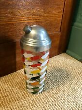 Vintage MCM Shaker Cocktail Mixer Retro Colorful Glass and Metal