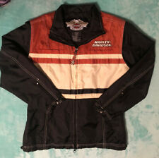 Harley Davidson Mens Zippered Nylon Wind Rain Jacket Orange Ivory Black