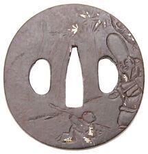 Antique Japanese Tsuba Iron Fukurokuju Edo Katana koshirae Lucky God Sword Guard