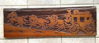 Vtg Sandblasted STAGECOACH Wood Art 32 x 10 Horses Western Country Plaque Sign