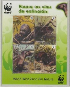 Peru Riesenotter Block Wwf 4 Values (MNH)