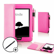 Leather Pink Smart Case Cover for Amazon Kindle Paperwhite 2015 + Stylus