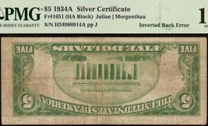 1934A $5 DOLLAR BILL INVERTED BACK ERROR NOTE SILVER CERTIFICATE PAPER MONEY PMG
