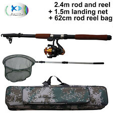 Protable 2.4M Telescopic Fishing Rod & Reel Combos & Bag Kit With Hand Nets