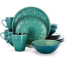 Vintage Teal Dinnerware Set Dinner Dishes Kitchen Plates Embossed Rustic 16 Pcs