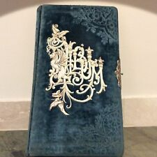 Antique Victorian Velvet Embossed Album Book Silver Clasp Gold Hand Painted Page