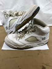 bede09f8233919 Nike Air Jordan 5 Retro White Metallic Silver 136027-130 Size 8.5 Used Men