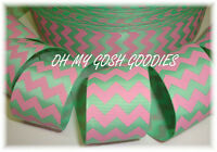 1.5 EASTER MINT GREEN PINK CHEVRON ZIG ZAG STRIPE GROSGRAIN RIBBON 4 HAIRBOW