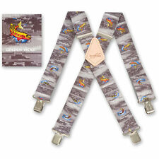 "Brimarc Mens Braces Heavy Duty Suspenders 2"" 50mm Wide Trout Fisherman Braces"
