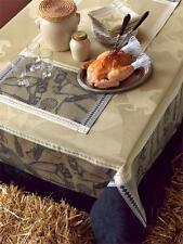 """Le Jacquard Francais Manege Sable Beige Black Nappe Tablecloth Equestrian 69x69"""""""