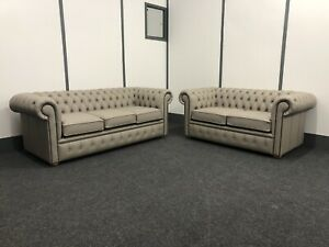 Chesterfield 3&2str Sofas In Pale Grey Genuine Leather(Brand New)
