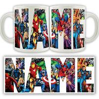 MARVEL PERSONALISED LOGO MUG Super heroes Hulk Avengers Tea Coffee Cup Name Gift