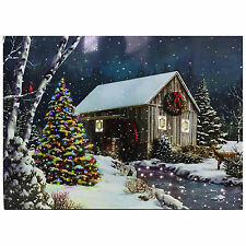 Christmas Tree Tapestry House Snow Scene Fibre Optic Lights Wall Hanging Battery