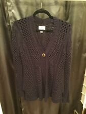 Rosie Neira Navy Blue Thick Cable Knit Cardigan, Size Medium