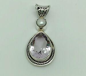 Vintage Sterling Silver Large 16.8ct Rose de France Amethyst & Pearl Pendant