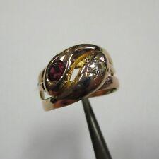 Antiker Schlangenring Rotgold 750 Altschliff Diamant und Rubin - 344/2462/1