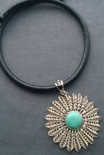 """925 STERLING SILVER BLACK LEATHER & TURQUOISE HUGE PENDANT 18"""""""