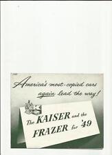 USA Kaiser DE LUXE & SPECIALE + FRAZIER & FRAZIER MANHATTAN SALES BROCHURE 1949