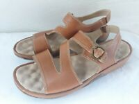 SOFT WALK Women's Brown Leather Slingback Strappy Open Summer Sandals 9 M Nice
