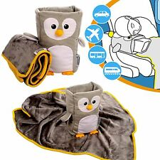 Kids Travel Pillow Neck Support Soft Blanket Childrens Armrest Buddy Cushion