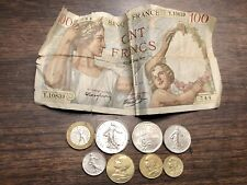 New listing France 100 Banknote 10 5 2 1 1/2 20 5 Francs French Centimes Coin Set Coins Lot