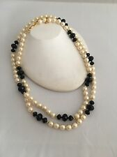 """JOAN RIVERS CLASSICS COLLECTION COSTUME PEARL & BLACK CRYSTAL 50"""" NECKLACE"""