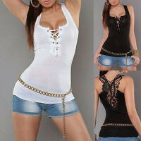 Womens Lace Back Tank Top Lace Up Blouses T-Shirt Vest Sexy Sleeveless T-Shirt