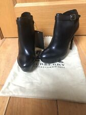 Burberry Black Boots Leather Cross Strap Ankle Platform Boots