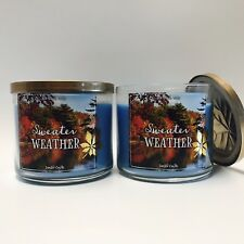 2 Bath & Body Works Sweater Weather 3 Wick Scented Candle 14.5 oz New Fall 2016