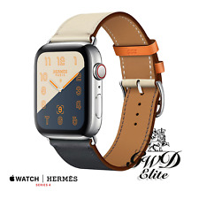 Series 4 Hermes Apple Watch Single Tour Indigo/Craie/Orange Swift Leather44mm