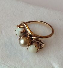 10K YELLOW GOLD PEARL AND OPAL RING SIZE 4.5