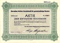 Benrather AG für gemeinnützige Bauten Düsseldorf Benrath hist Aktie 1938 Hausbau