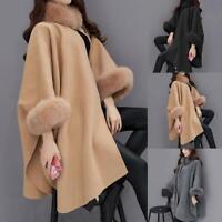 Women's Winter Wool Cloak Cape Coat Flare Sleeve Faux Fur Collar Poncho 2019