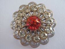Vintage Spoked Rhinestone Button Pink & Clear 33mm sew craft jewelry knit scrapb