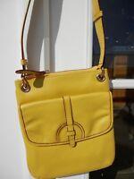 Isaac Mizrahi Live Yellow Leather Crossbody Messenger Purse